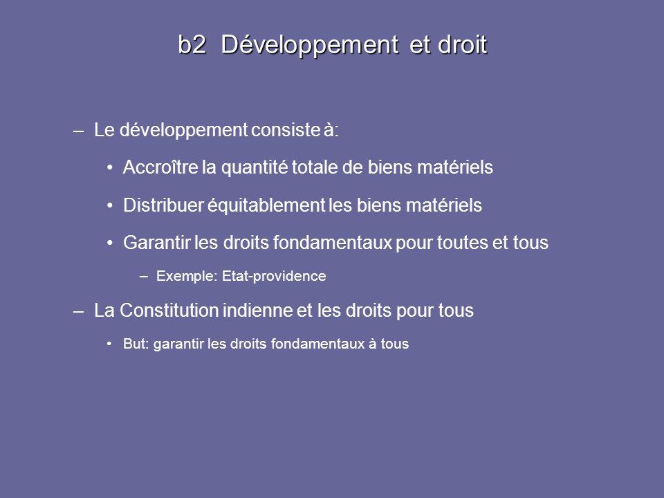 b2 Développement et droit –Le développement consiste à: Accroître la quantité totale de biens matériels Distribuer équitablement les biens matériels G