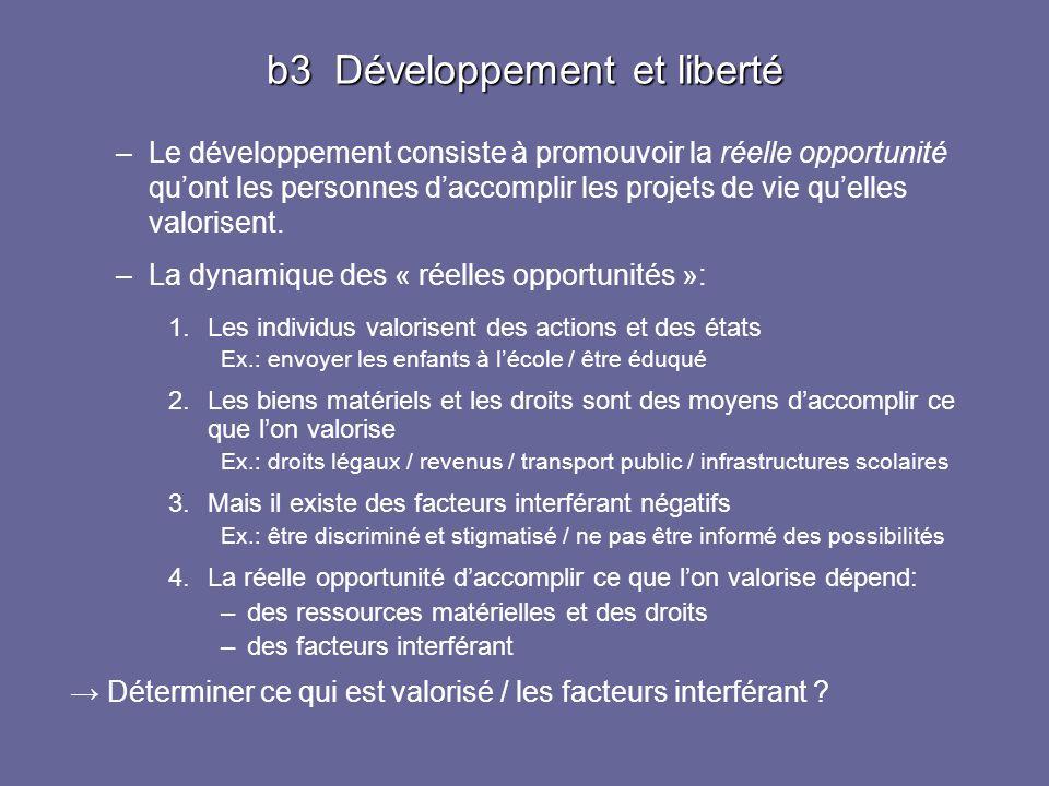 b3 Développement et liberté –Le développement consiste à promouvoir la réelle opportunité quont les personnes daccomplir les projets de vie quelles va