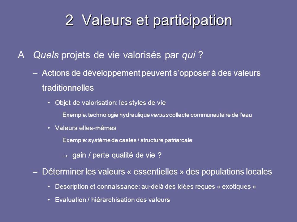 2 Valeurs et participation A Quels projets de vie valorisés par qui ? –Actions de développement peuvent sopposer à des valeurs traditionnelles Objet d