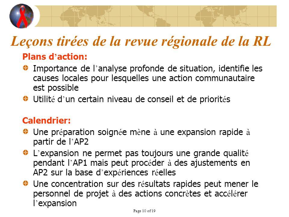 Page 10 of 19 Leçons tirées de la revue régionale de la RL Plans d action: Importance de l analyse profonde de situation, identifie les causes locales