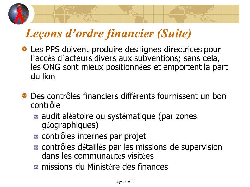 Page 16 of 19 Les PPS doivent produire des lignes directrices pour l acc è s d acteurs divers aux subventions; sans cela, les ONG sont mieux positionn