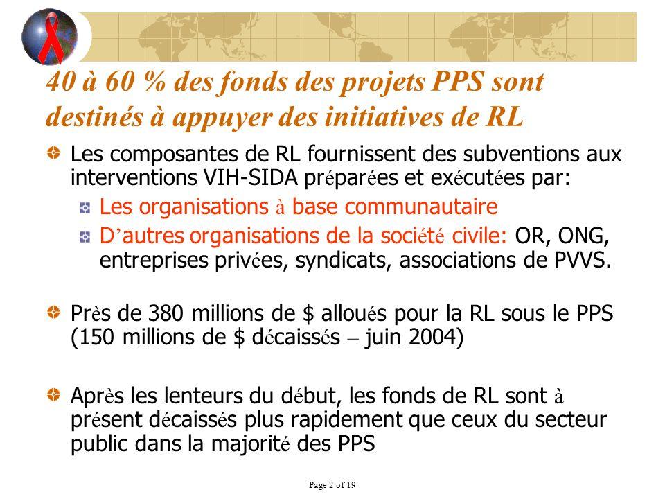Page 2 of 19 40 à 60 % des fonds des projets PPS sont destinés à appuyer des initiatives de RL Les composantes de RL fournissent des subventions aux i