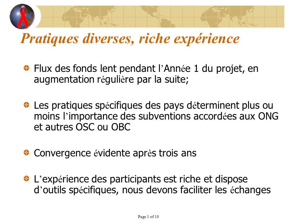 Page 3 of 19 Pratiques diverses, riche expérience Flux des fonds lent pendant l Ann é e 1 du projet, en augmentation r é guli è re par la suite; Les p
