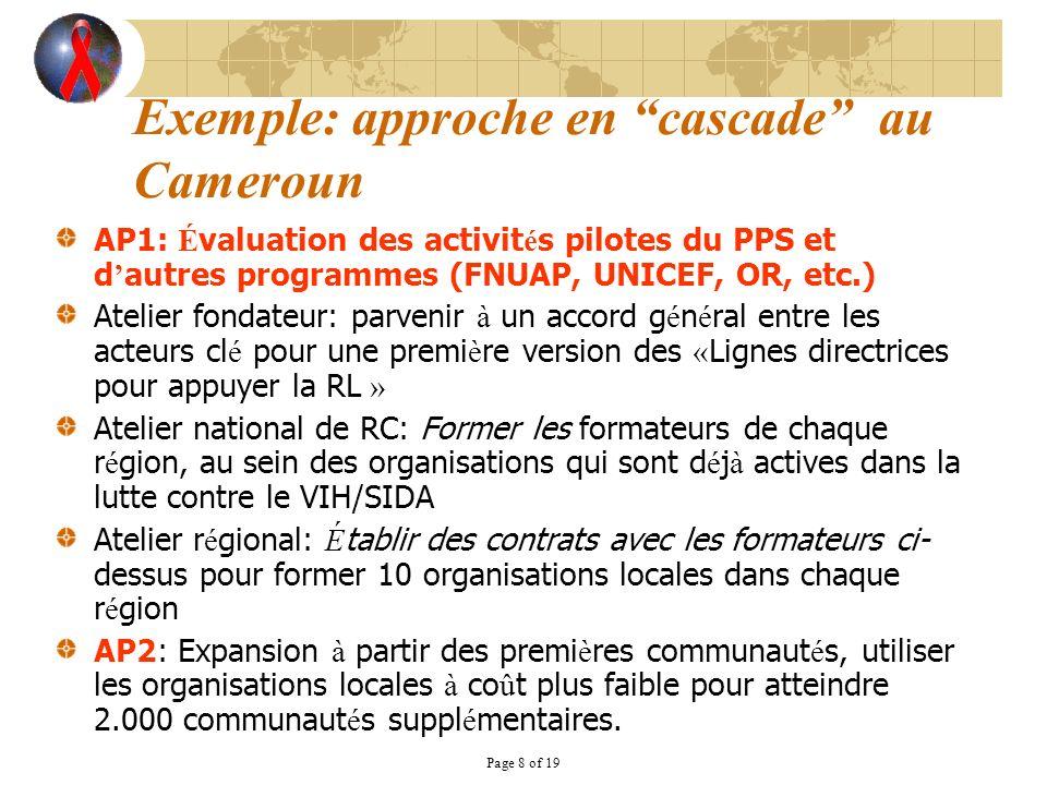 Page 8 of 19 Exemple: approche en cascade au Cameroun AP1: É valuation des activit é s pilotes du PPS et d autres programmes (FNUAP, UNICEF, OR, etc.)
