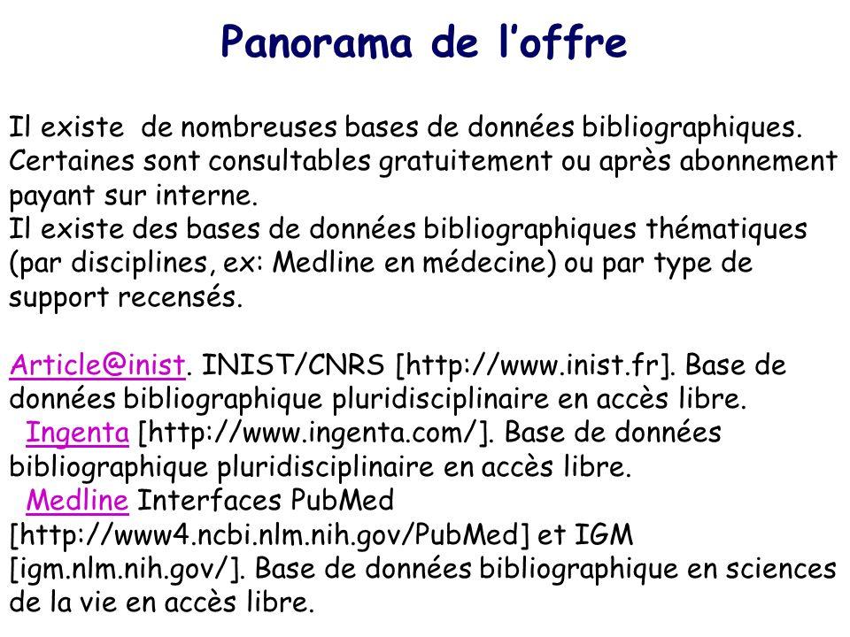 Panorama de loffre Il existe de nombreuses bases de données bibliographiques. Certaines sont consultables gratuitement ou après abonnement payant sur