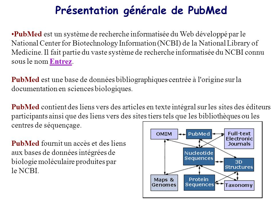 Présentation générale de PubMed PubMed est un système de recherche informatisée du Web développé par le National Center for Biotechnology Information (NCBI) de la National Library of Medicine.