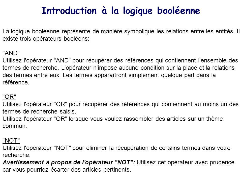 Introduction à la logique booléenne La logique booléenne représente de manière symbolique les relations entre les entités. Il existe trois opérateurs