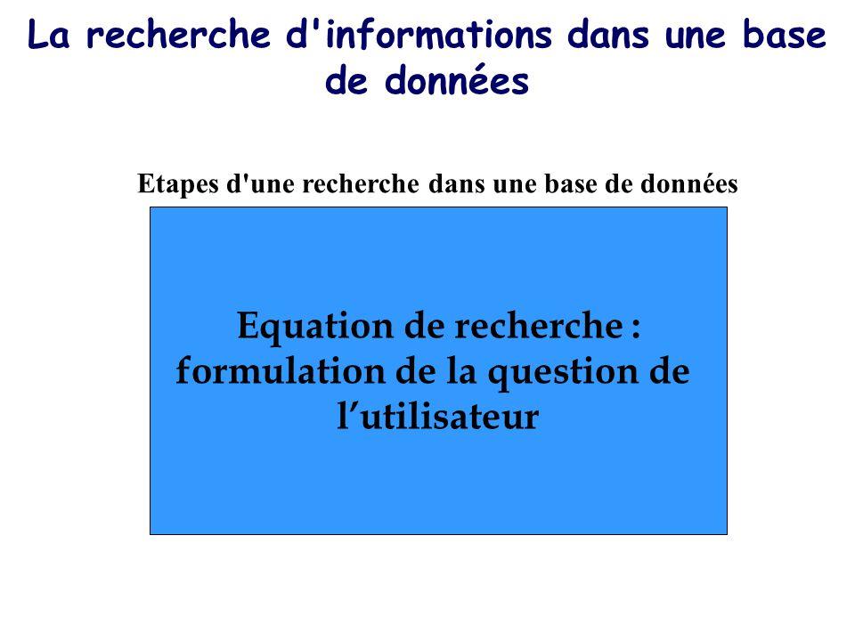 La recherche d'informations dans une base de données Equation de recherche : formulation de la question de lutilisateur Etapes d'une recherche dans un