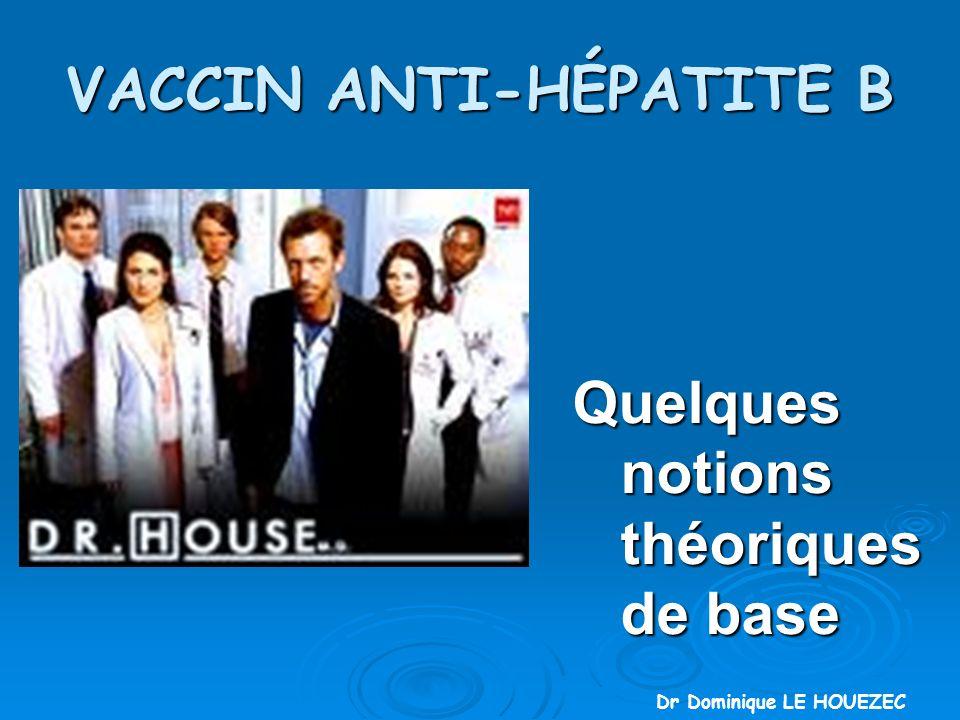 VACCIN ANTI-HÉPATITE B Quelques notions théoriques de base Quelques notions théoriques de base Dr Dominique LE HOUEZEC