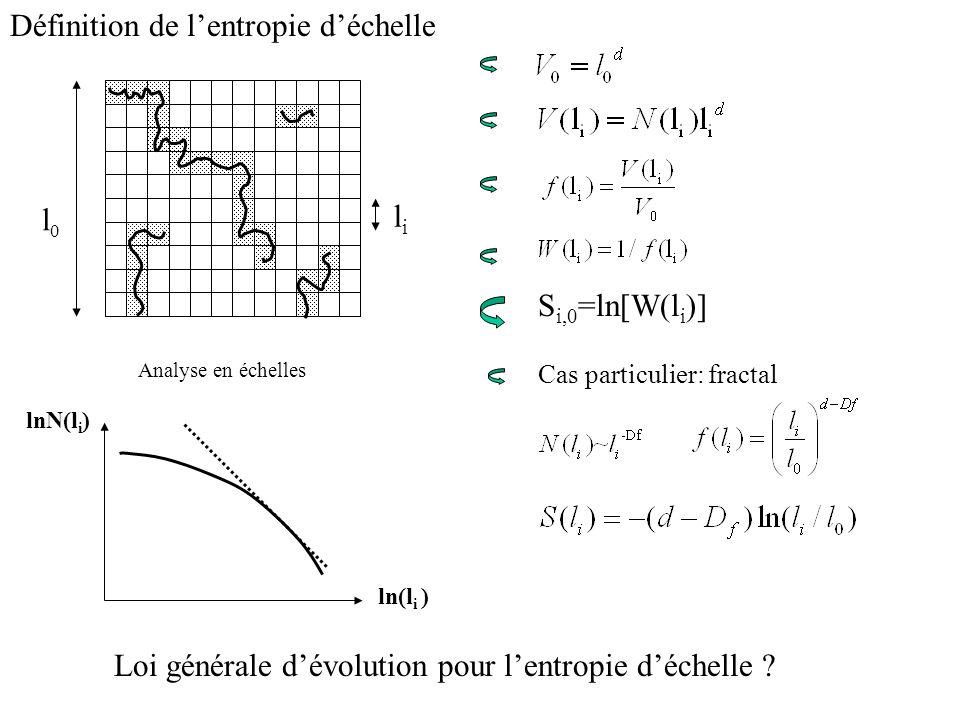 S i,0 =ln[W(l i )] Cas particulier: fractal Définition de lentropie déchelle Loi générale dévolution pour lentropie déchelle ? Analyse en échelles lnN