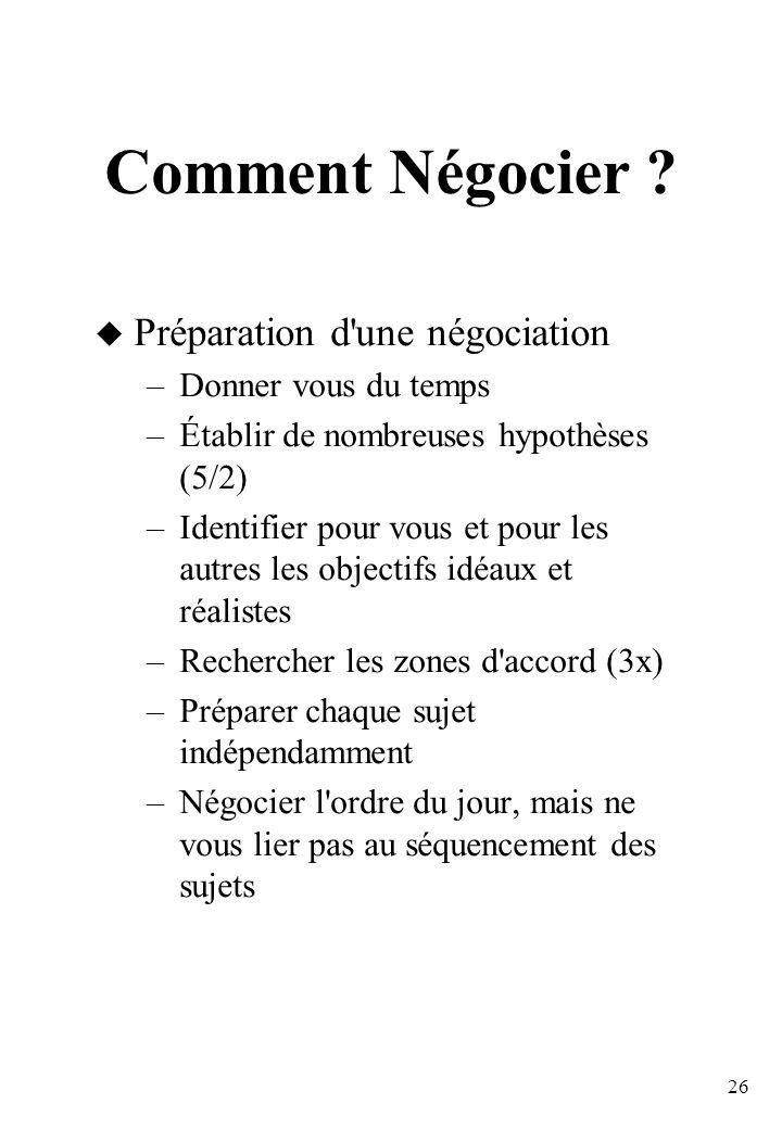 26 Comment Négocier .