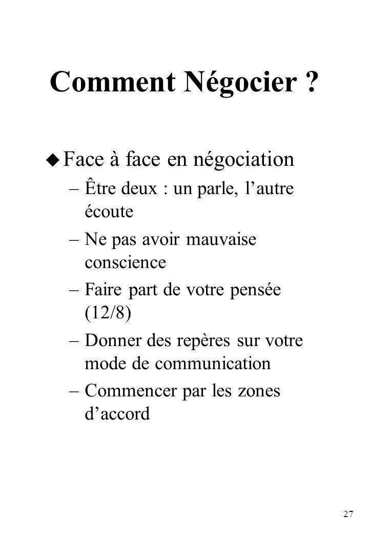 27 Comment Négocier .