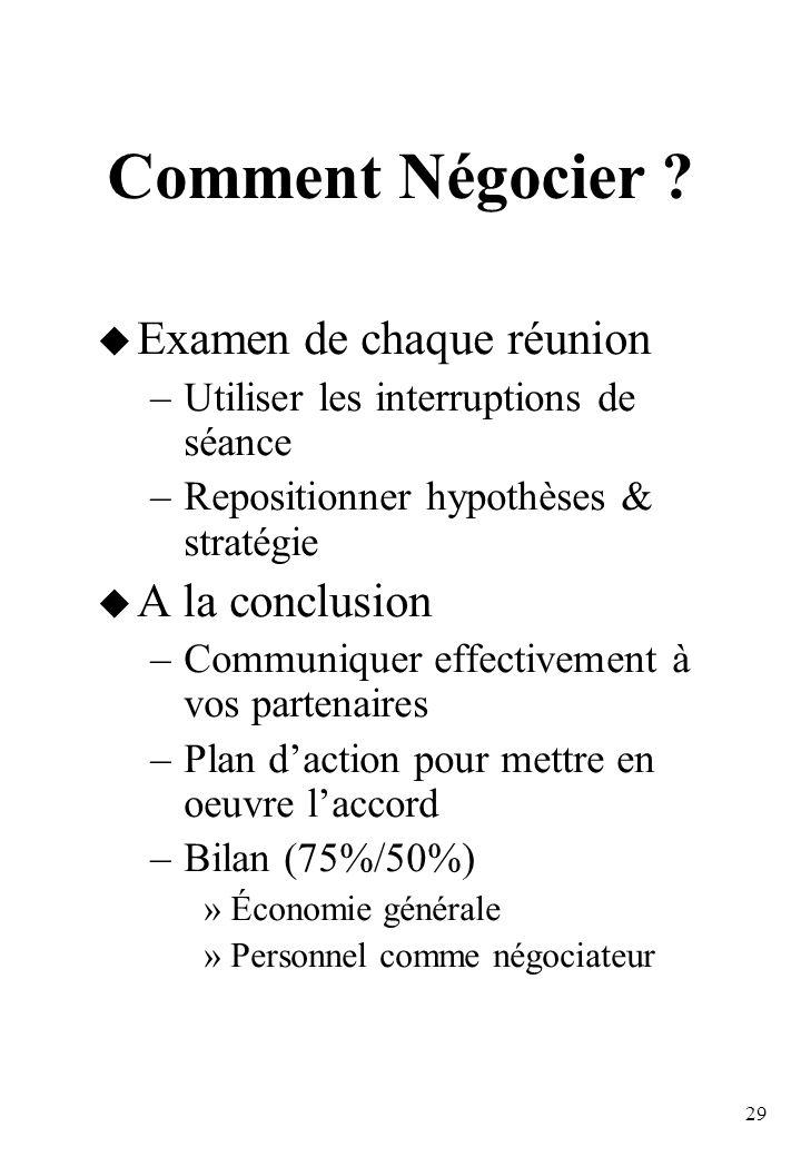 29 Comment Négocier .