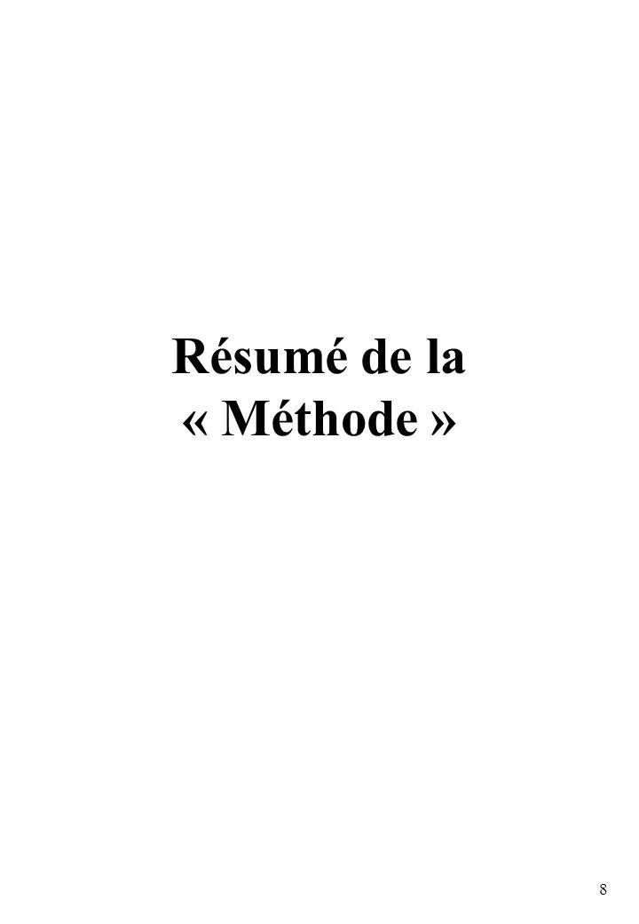 8 Résumé de la « Méthode »