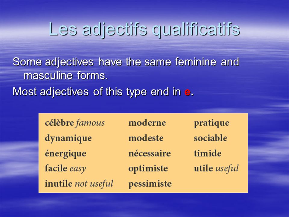 Les adjectifs qualificatifs Some adjectives have the same feminine and masculine forms.