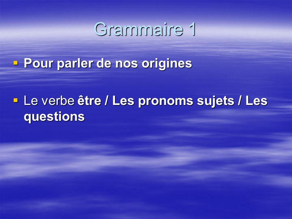 Grammaire 1 Pour parler de nos origines Pour parler de nos origines Le verbe être / Les pronoms sujets / Les questions Le verbe être / Les pronoms sujets / Les questions