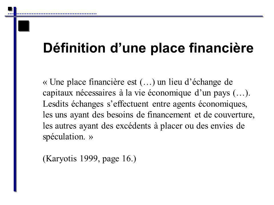 Définition dune place financière « Une place financière est (…) un lieu déchange de capitaux nécessaires à la vie économique dun pays (…).