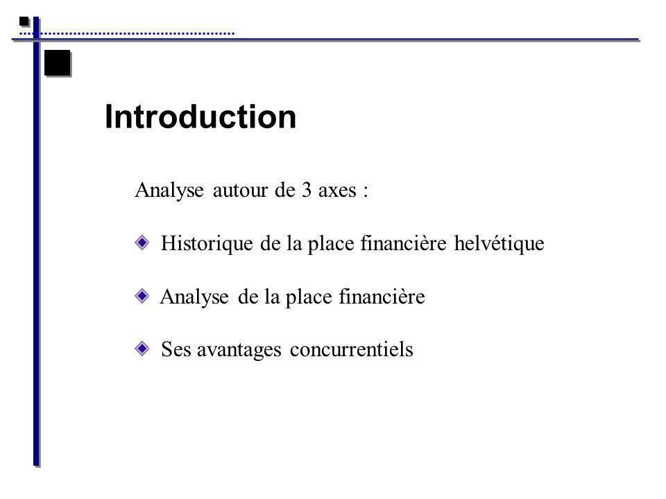 Introduction Analyse autour de 3 axes : Historique de la place financière helvétique Analyse de la place financière Ses avantages concurrentiels