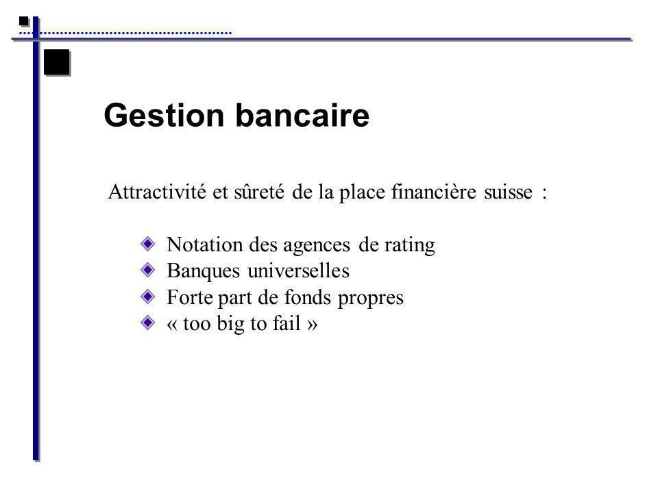 Gestion bancaire Attractivité et sûreté de la place financière suisse : Notation des agences de rating Banques universelles Forte part de fonds propres « too big to fail »