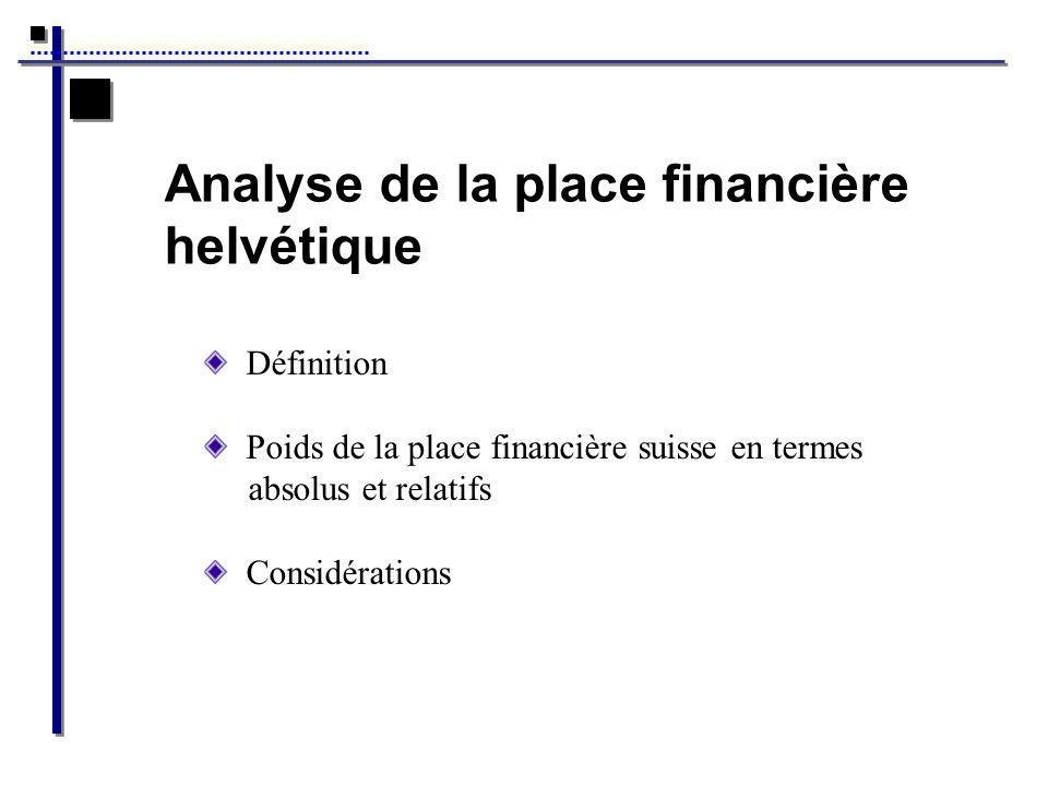 Analyse de la place financière helvétique Définition Poids de la place financière suisse en termes absolus et relatifs Considérations