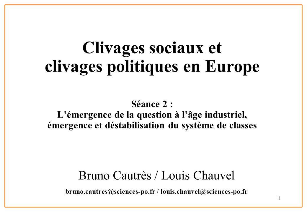 1 Clivages sociaux et clivages politiques en Europe Séance 2 : Lémergence de la question à lâge industriel, émergence et déstabilisation du système de