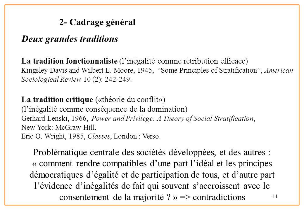 11 Deux grandes traditions La tradition fonctionnaliste (linégalité comme rétribution efficace) Kingsley Davis and Wilbert E. Moore, 1945, Some Princi
