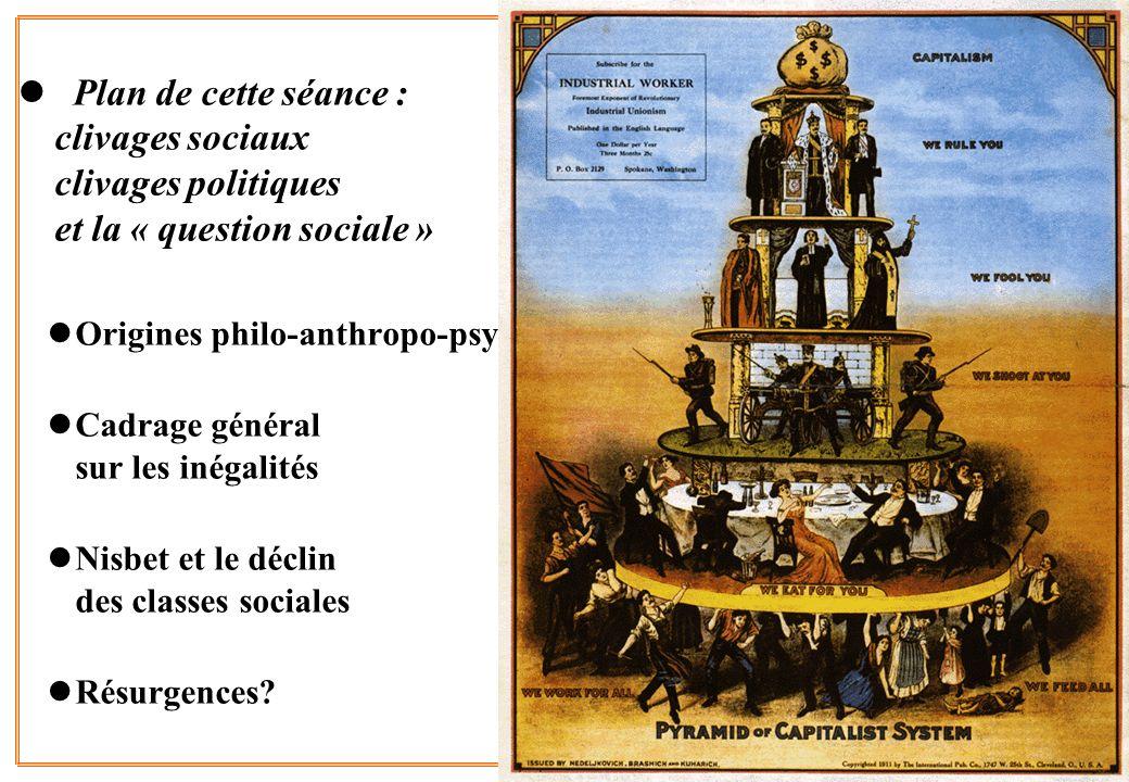 2 l Plan de cette séance : clivages sociaux clivages politiques et la « question sociale » lOrigines philo-anthropo-psy lCadrage général sur les inéga