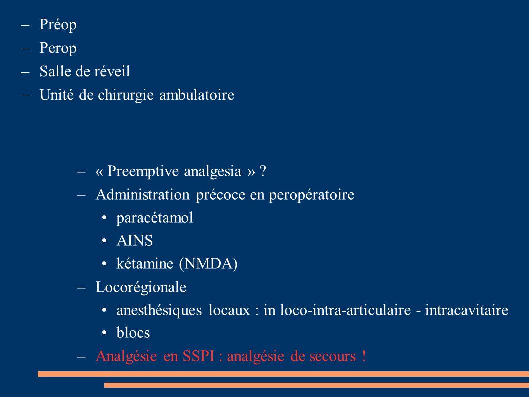 –« Preemptive analgesia » ? –Administration précoce en peropératoire paracétamol AINS kétamine (NMDA) –Locorégionale anesthésiques locaux : in loco-in