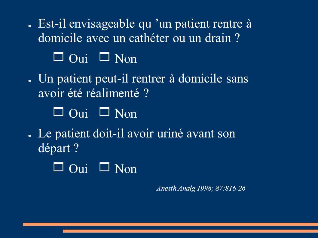Est-il envisageable qu un patient rentre à domicile avec un cathéter ou un drain ? Oui Non Un patient peut-il rentrer à domicile sans avoir été réalim