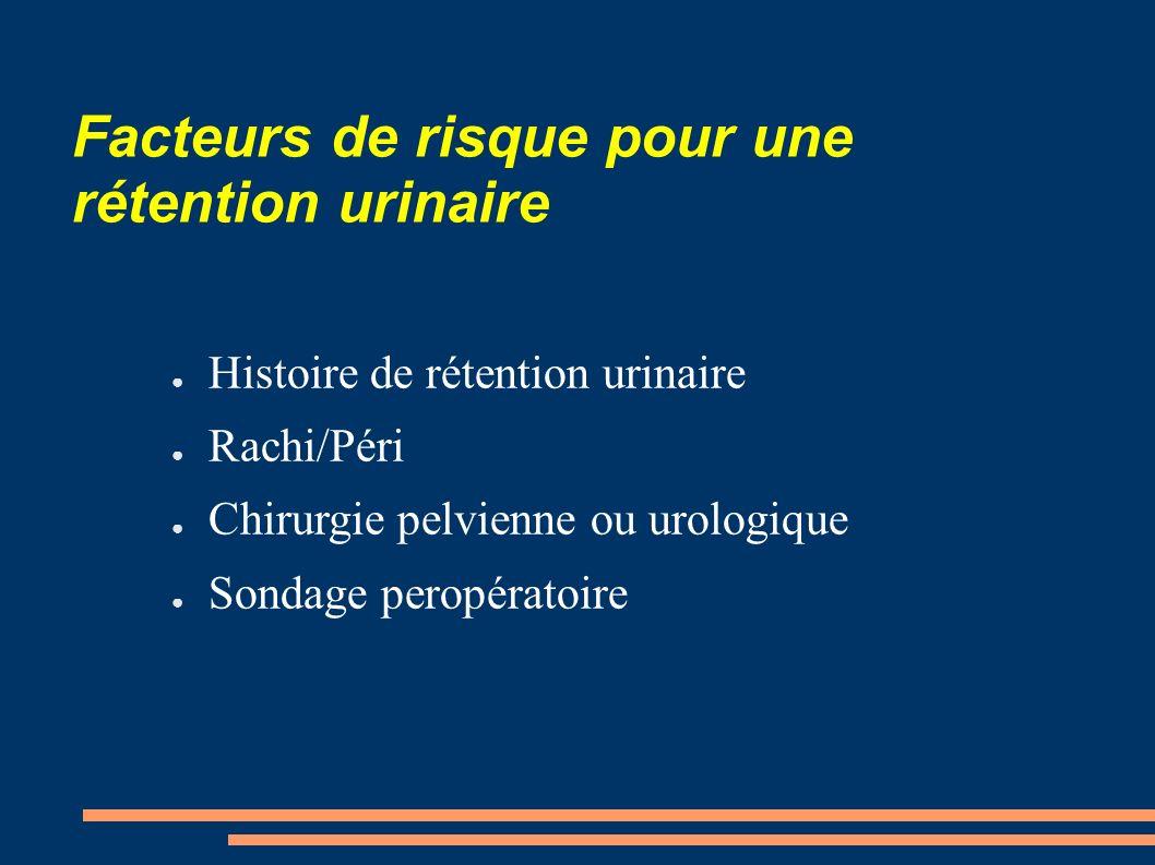 Facteurs de risque pour une rétention urinaire Histoire de rétention urinaire Rachi/Péri Chirurgie pelvienne ou urologique Sondage peropératoire