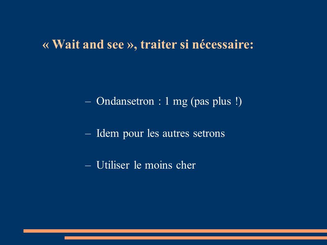–Ondansetron : 1 mg (pas plus !) –Idem pour les autres setrons –Utiliser le moins cher « Wait and see », traiter si nécessaire: