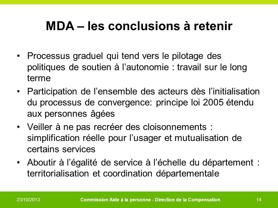 MDA – les conclusions à retenir Processus graduel qui tend vers le pilotage des politiques de soutien à lautonomie : travail sur le long terme Partici