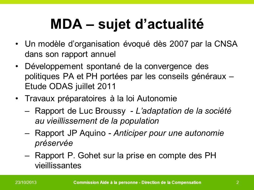 MDA – sujet dactualité Un modèle dorganisation évoqué dès 2007 par la CNSA dans son rapport annuel Développement spontané de la convergence des politi