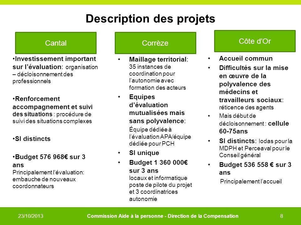 Description des projets Investissement important sur lévaluation: organisation – décloisonnement des professionnels Renforcement accompagnement et sui