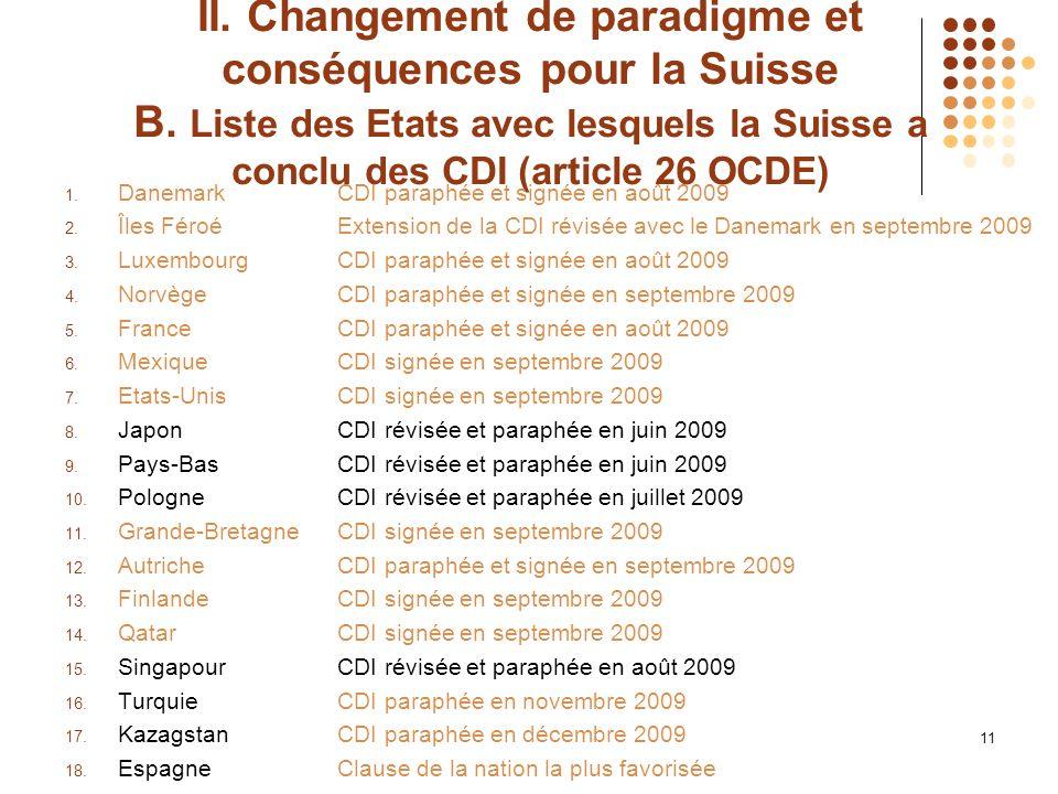 II. Changement de paradigme et conséquences pour la Suisse B.