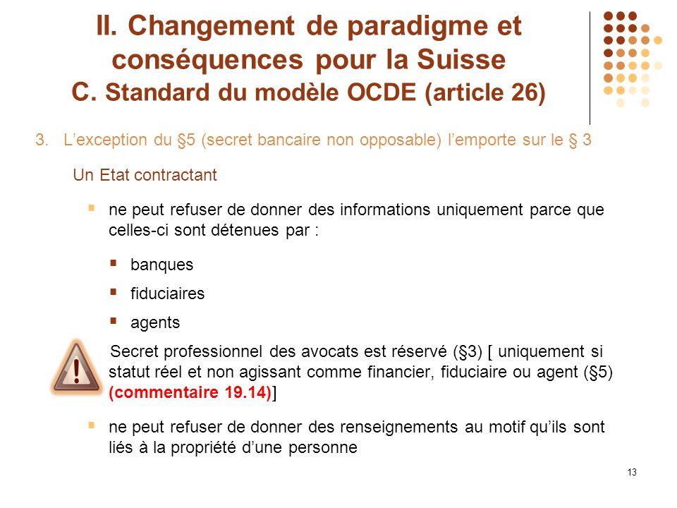 13 II. Changement de paradigme et conséquences pour la Suisse C.