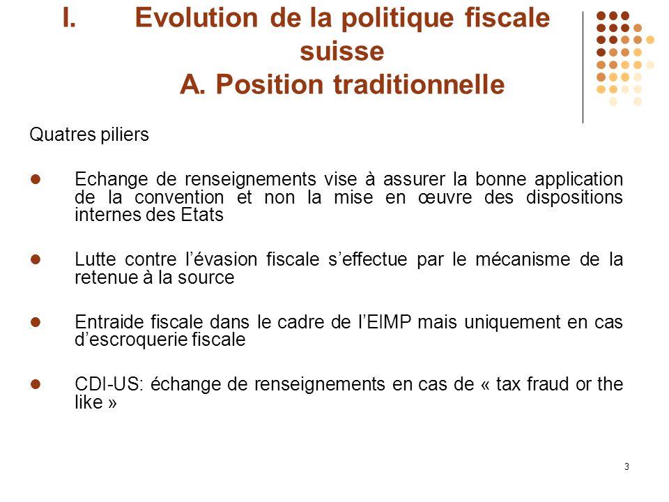 4 I.Evolution de la politique fiscale suisse B.Nouvelle approche i.