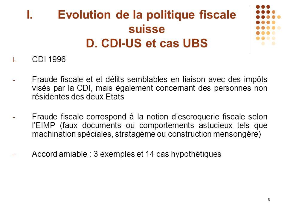 8 I.Evolution de la politique fiscale suisse D. CDI-US et cas UBS i.
