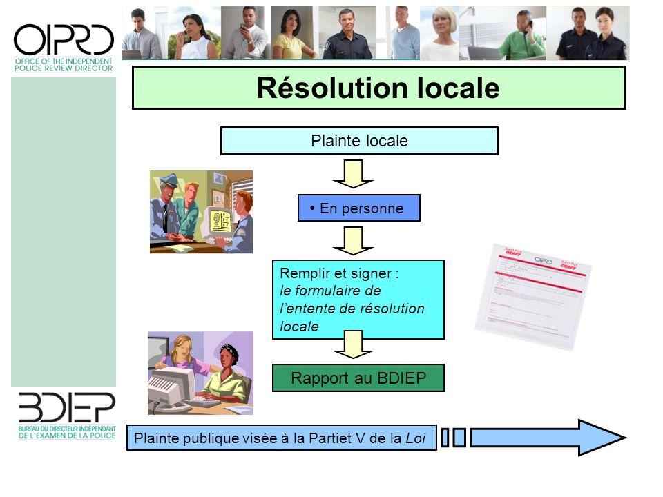 Plainte locale Résolution locale En personne Rapport au BDIEP Remplir et signer : le formulaire de lentente de résolution locale Plainte publique visée à la Partiet V de la Loi