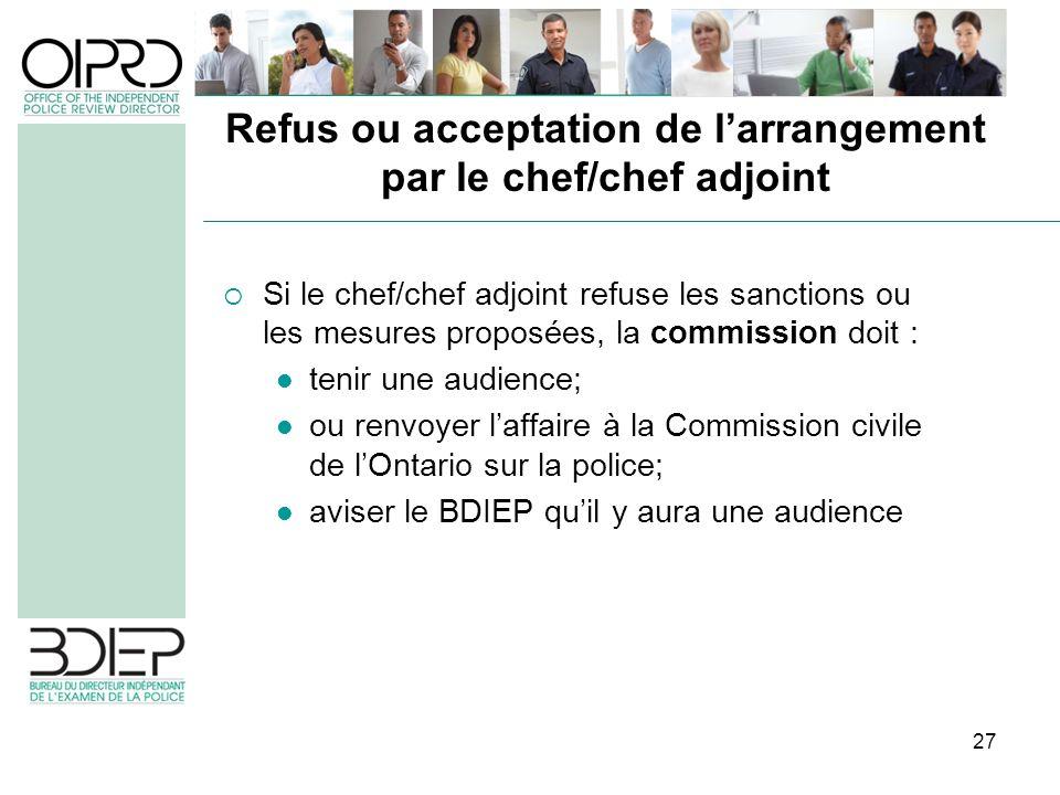 27 Si le chef/chef adjoint refuse les sanctions ou les mesures proposées, la commission doit : tenir une audience; ou renvoyer laffaire à la Commissio