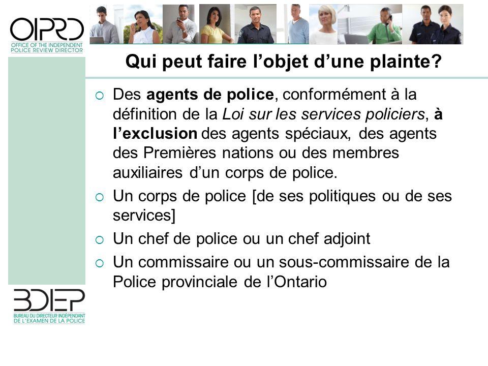 Des agents de police, conformément à la définition de la Loi sur les services policiers, à lexclusion des agents spéciaux, des agents des Premières nations ou des membres auxiliaires dun corps de police.