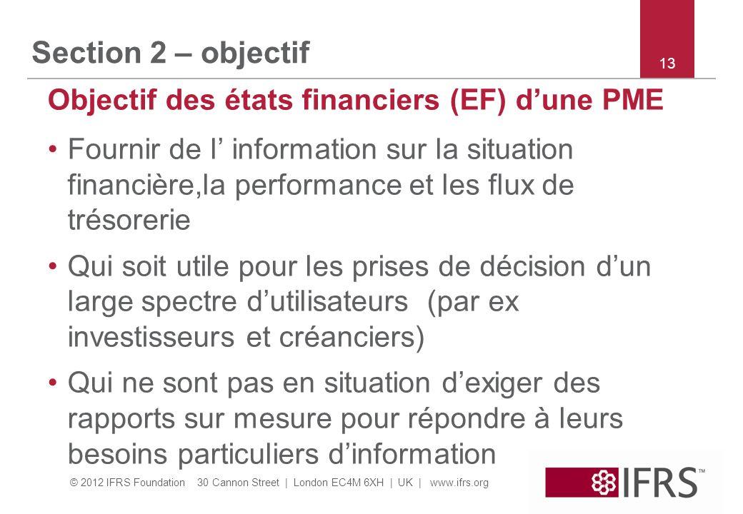 © 2012 IFRS Foundation 30 Cannon Street | London EC4M 6XH | UK | www.ifrs.org Section 2 – objectif Objectif des états financiers (EF) dune PME Fournir
