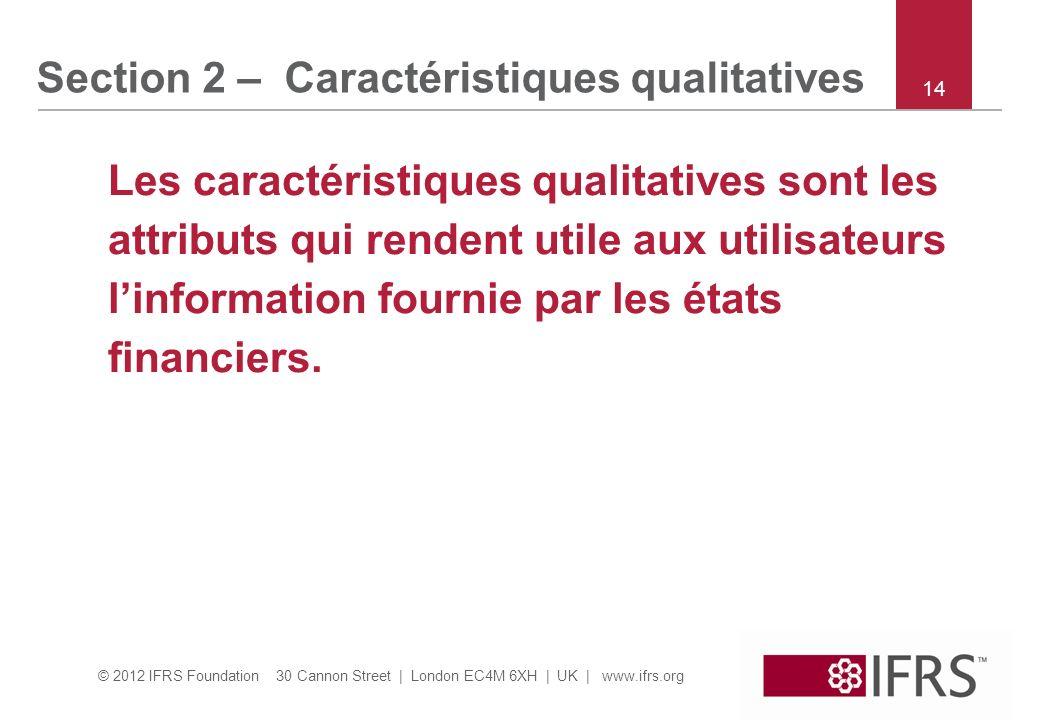 © 2012 IFRS Foundation 30 Cannon Street | London EC4M 6XH | UK | www.ifrs.org Les caractéristiques qualitatives sont les attributs qui rendent utile a