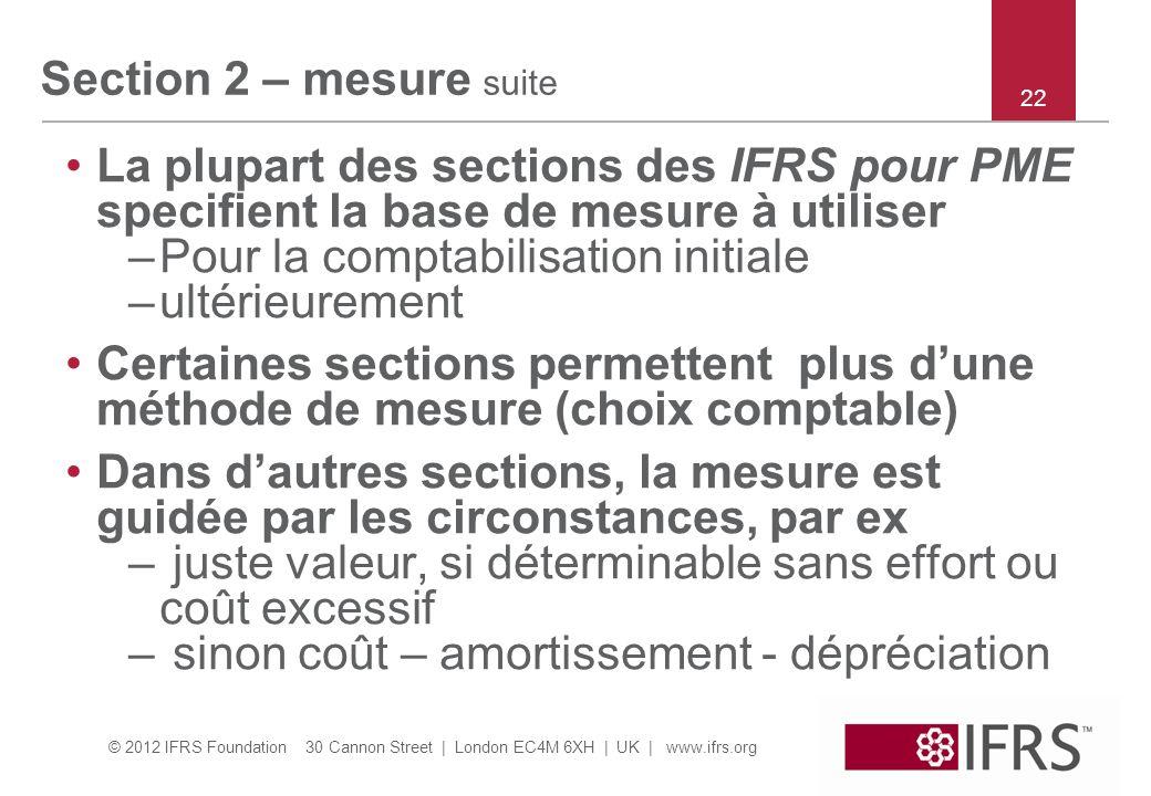 © 2012 IFRS Foundation 30 Cannon Street | London EC4M 6XH | UK | www.ifrs.org Section 2 – mesure suite La plupart des sections des IFRS pour PME speci