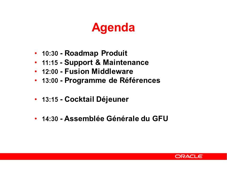10:30 - Roadmap Produit 11:15 - Support & Maintenance 12:00 - Fusion Middleware 13:00 - Programme de Références 13:15 - Cocktail Déjeuner 14:30 - Asse