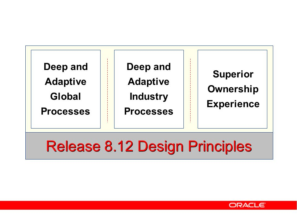 Deep and Adaptive Global Processes Release 8.12 Design Principles Deep and Adaptive Industry Processes Superior Ownership Experience
