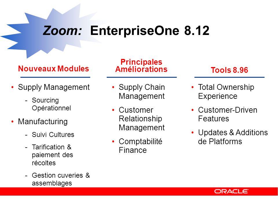 Nouveaux Modules Zoom: EnterpriseOne 8.12 Principales Améliorations Tools 8.96 Supply Management - Sourcing Opérationnel Manufacturing - Suivi Culture