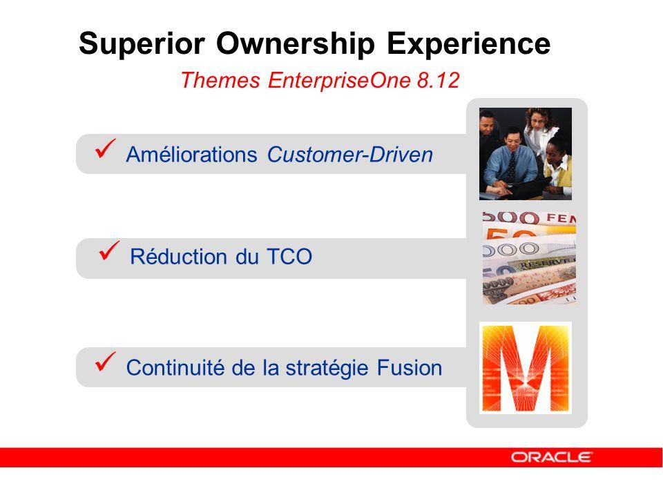 Superior Ownership Experience Themes EnterpriseOne 8.12 Réduction du TCO Continuité de la stratégie Fusion Améliorations Customer-Driven