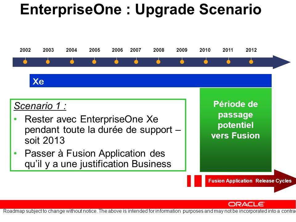 EnterpriseOne : Upgrade Scenario Scenario 1 : Rester avec EnterpriseOne Xe pendant toute la durée de support – soit 2013 Passer à Fusion Application d