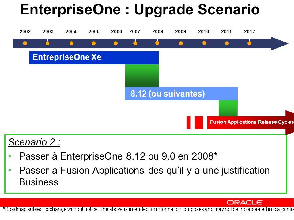EnterpriseOne : Upgrade Scenario Scenario 2 : Passer à EnterpriseOne 8.12 ou 9.0 en 2008* Passer à Fusion Applications des quil y a une justification